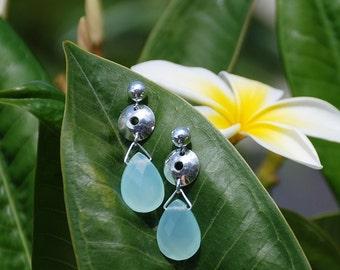 Aqua chalcedony Semi-precious Gemstone earrings Silver dangle drop custom earrings Semi-precious stone jewelry