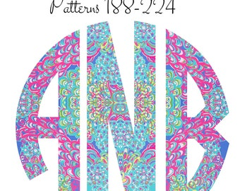 Lilly Pulitzer Monogram Decal, Car Monogram Decal, Circle Monogram Decal Patterns 188-224