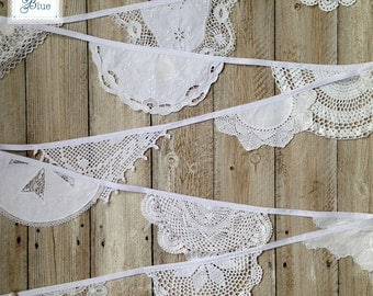 Vintage Wedding Bunting - Doily Bunting White Wedding Decoration - Vintage Crochet Doilies - White (Snowdrop) - by Daisies Blue - 4 metres