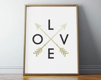 Love, Love Sign, Love Printable Art, Love Print, Love Wall Art, Love Art, Love Wall Art Print, Teen Room Decor, Gold Arrows, PRINTABLE Art