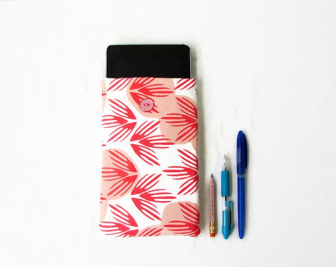 7 inch tablet cover, hand printed fabric, handmade in the UK