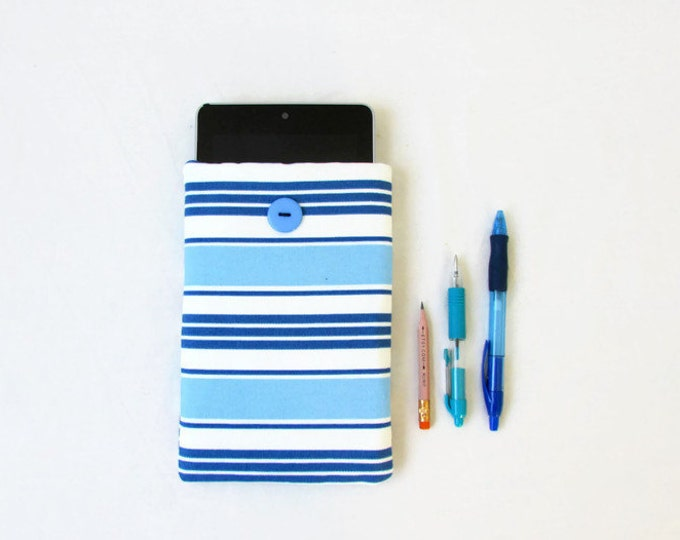 Striped Kindle case, blue 7 inch tablet sleeve, handmade in the UK