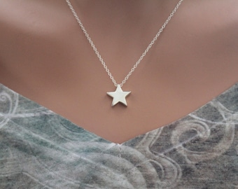 Sterling Silver Star Bead Charm Necklace, Star Bead Charm Necklace, Simple Star Bead Necklace, Silver Star Bead Necklace, Cute Star Necklace