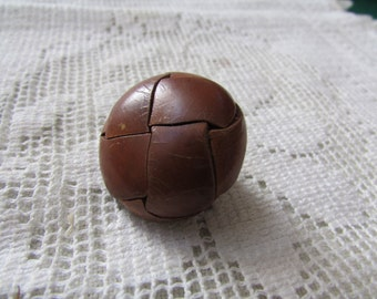 Vintage large braided leather  buttons with leather shanks, 6 buttons