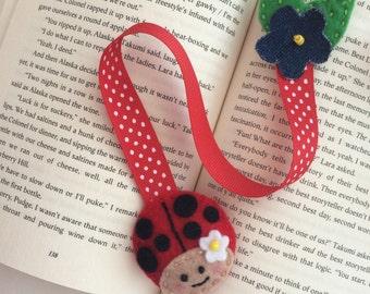 Lady bug bookmark   Felt bookmark
