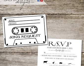 Cassette Tape RSVP Card O Song Request Wedding With