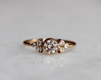 14K Cluster Ring, Moissanite Ring, Diamond Ring, Engagement Ring, Multistone Ring, Rose Gold, Yellow Gold, White Gold, Statement Ring