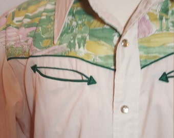 FREE  SHIPPING   1970 Men Western H Bar C Shirt