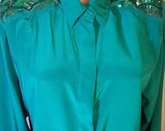FREE  SHIPPING   Vintage 1980 Designer Silk Sequin Blouse