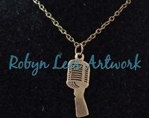 Bronze 50s Classic Retro Vintage Microphone Necklace om Bronze Crossed Chain