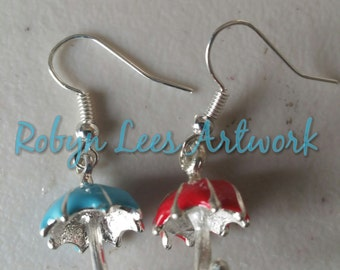 3d Red & Blue Umbrella Earrings on Silver Plated Hooks. Stephen King Bill Hodges Inspired, Mr Mercedes, Finders Keepers, End of Watch