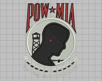 POW MIA Prisoners of War Missing in Action Fill Stitch Embroidery Design in 4x4 5x7 and 6x10 Sizes