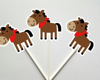 Horse Cupcake Toppers, Pony Cupcake Toppers, Farm Cupcake Toppers