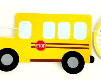 School Bus Banner, School Bus Birthday, School Bus Theme, Yellow Bus Banner, Teacher Banner