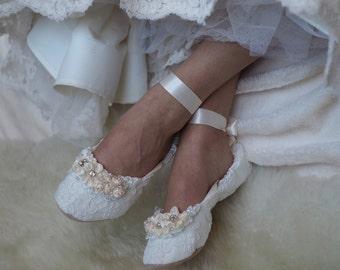 Princess Bridal Ballet Shoes, Lace Wedding Shoes with Rhinestones , Embellished Bridal Ballet Flats, Beaded Wedding Flat Shoes