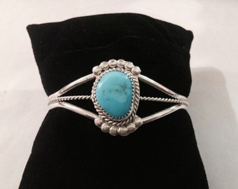 Vintage Sterling Silver and Turquoise Dainty Cuff Bracelet