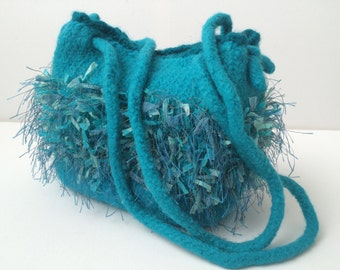 Hand-Knitted and Felted Wool Shoulder Bag Turquoise