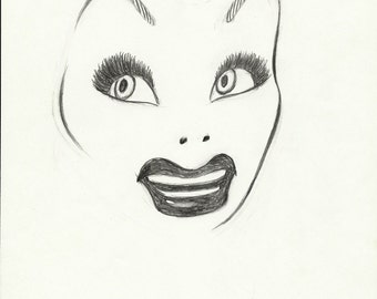 Original LUCILLE BALL convention logo pencil drawing by Dave Woodman