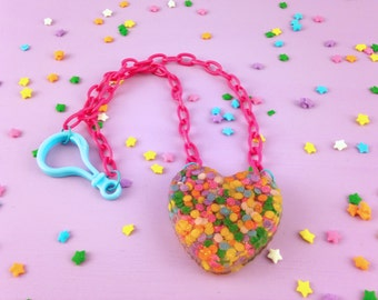 Sprinkle Heart Necklace | Heart Shaped Resin Necklace with Plastic Chain | Made with Real Cupcake Sprinkles