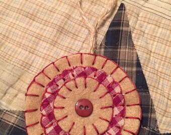 Tan/Burgundy Felt Penny Ornament OTBURG30