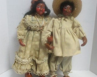 2 Vintage 1960's Hand Made & Hand Painted Folk Art Dolls, a Woman and Man w/ Hat.