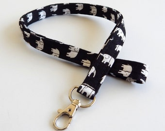 Elephant Lanyard / Elephants Keychain / Boho / Key Lanyard / ID Badge Holder / Bohemian / Animals / Bohemian / School Supplies