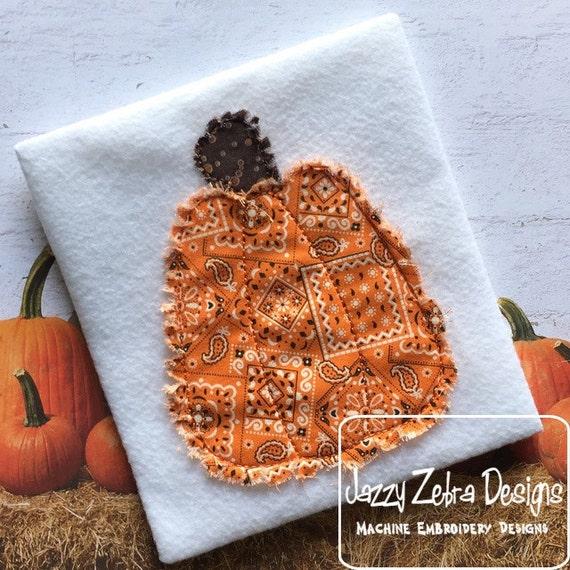 Raggedy Edge Pumpkin Applique Embroidery Design - Halloween appliqué design - pumpkin appliqué design - fall appliqué design  - Thanksgiving
