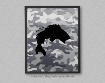 Fishing Gift for Dad, Fisherman Gifts, Camouflage Decor, Fishing Art Print, Fishing Dad Decor, Fishing Nursery Theme, Fishing Wall Art Sign