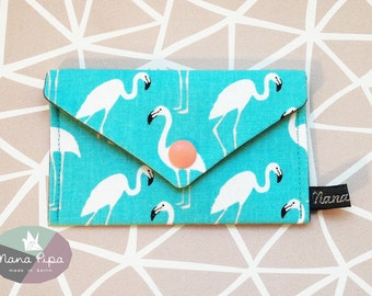 Purse / Business Card Holder / Credit Card Holder: Turquoise Fabric With White Flamingos