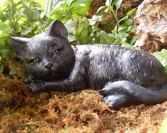 Black Cat Statue,Black Cat Memorial Statue,Garden Cat Statue,Sleeping Cat  Sculpture