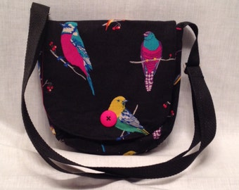 Adult purse: Colourful bird print on black