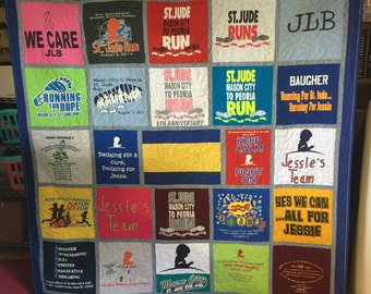 King Quilt (all sizes available) Custom Made - Memory Quilt Made From 9 - 49 t-shirts