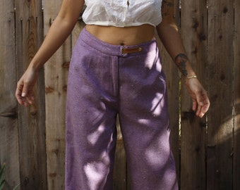 Herringbone Wide Leg Trousers * High Waist * Long * Purple * Leather Snap Closure * Size 30 waist