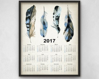 Blue Jay Feathers Calendar 2017 - Watercolor Blue Jay Feathers Art - 2017 Blue Jay Bird Feathers Calendar - 2017 Feather Calendar