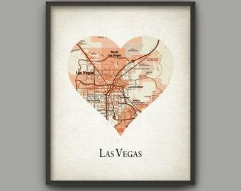 Las Vegas City Map Print - Love Heart Las Vegas - Las Vegas Travel Poster - Las Vegas City United States - Las Vegas City Gift Idea