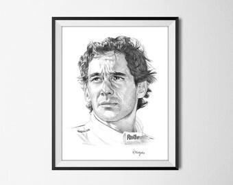 Ayrton Senna Art Print from an Original Drawing - Senna Wall Art - Formula One Champion Driver - Racing Driver Wall Art Print
