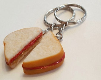 Peanut Butter and Jelly Halves Key Chains, Polymer Clay Best Friends Food Accessories, BFF