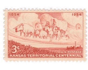 10 Unused Vintage Postage Stamps - 1954 3c Kansas Territory - Item No. 1061
