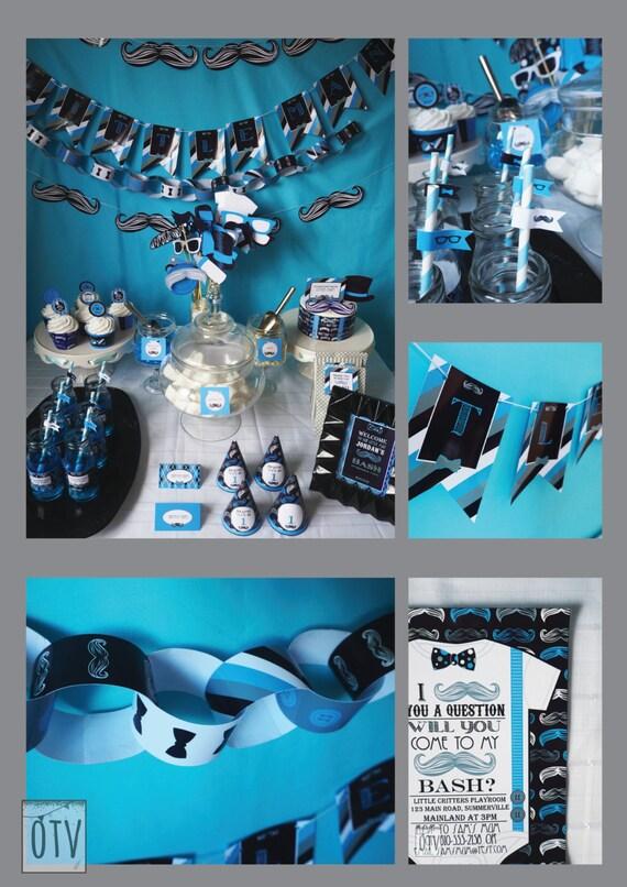MUSTACHE Bash - Baby Shower - 1st Birthday - Full Package - Baby Boy - Black - Blue - Personalised - PRINTABLE - Pdf - Digital