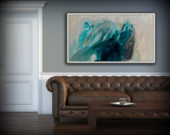 Abstract Art Blue Wall Art Coastal Landscape Giclee Large PRINT On Canvas  Large Gift For Her