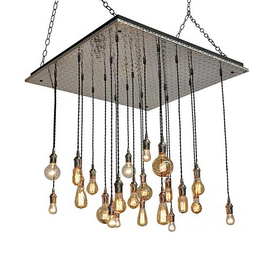 Industrial Tin Chandelier Industrial By Industriallightworks: Metal Industrial Chandelier Home Or Office Chandelier Great