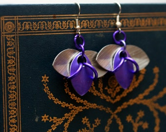 Purple and Silver Tri-Scale Earrings
