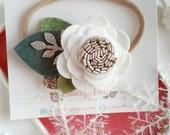 Felt Flower Nude Nylon Headband - White Flower Headband - Flower Pixie Headband -Single Felt Flower Headband - Headband Baby Girl - HOLIDAY