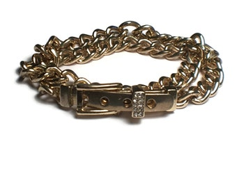 Belt Wrap Bracelet, Belt buckle Jewelry, Rhinestone,