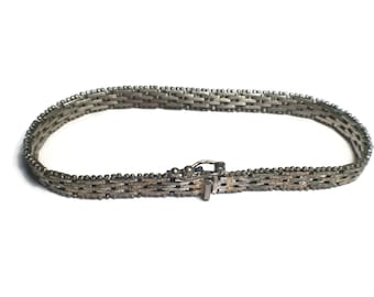 Sterling Silver Staggered Link Bracelet, 925 Jewelry,