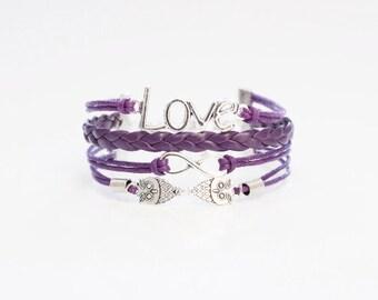 Love Infinity Owls Purple Cord Bracelet