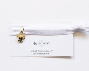 White Gold Turtle Hair Tie