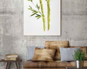 Green Bamboo Leaves Painting, Watercolor Living Room Decor Illustration,  Bamboo Stick Wall Paper Art
