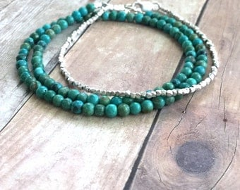 Genuine Turquoise Bracelet, Small Bead Bracelet, Sterling Silver Turquoise Jewelry, Blue Green Stone Double Wrap Bracelet