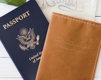 More Knots In My Hair Quote Leather Passport Travel Cover Brown Leather in Collaboration With Taylor Tippett, Passport Case, Graduation Gift